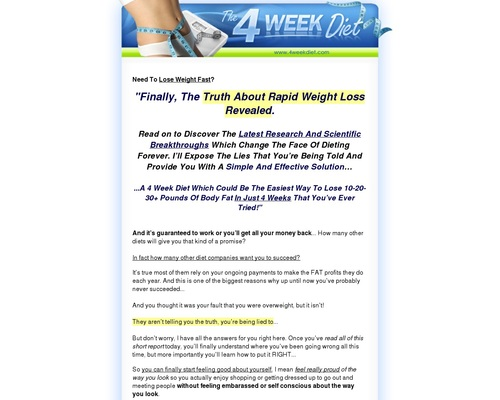 4 Week Diet - 4 Week Diet   Lose Weight Fast and Easy   Weight Loss